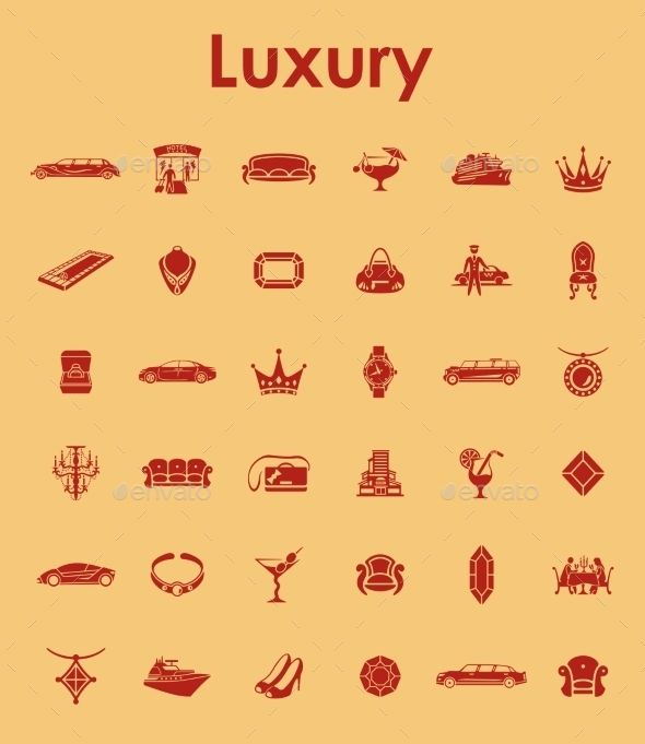 Set Of Luxury Simple Icons - Icons