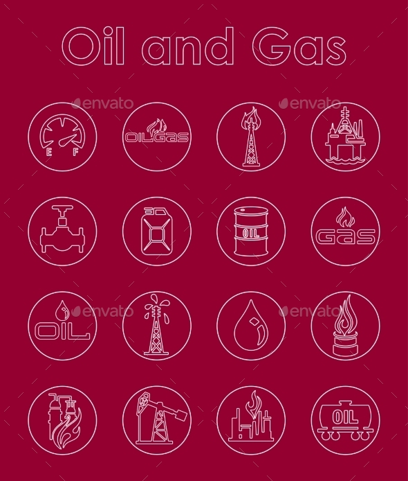 Set Of Oil And Gas Simple Icons - Icons