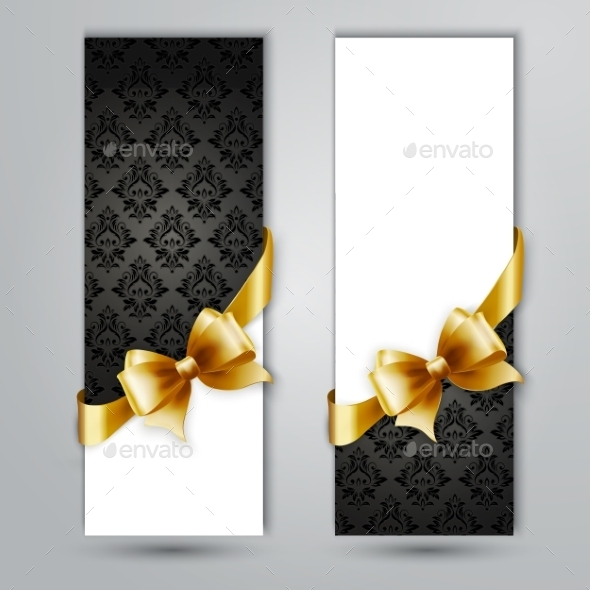 Invitation Card with Gold Holiday Ribbon - Backgrounds Decorative
