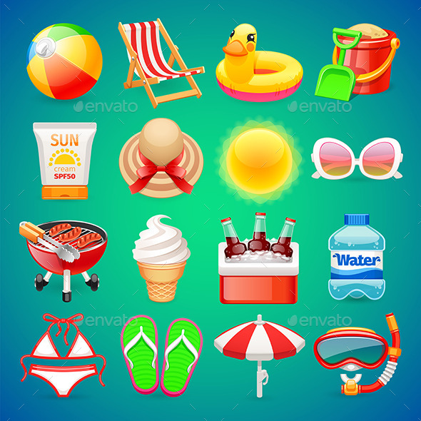 Colorful Summer Icons Set - Seasonal Icons