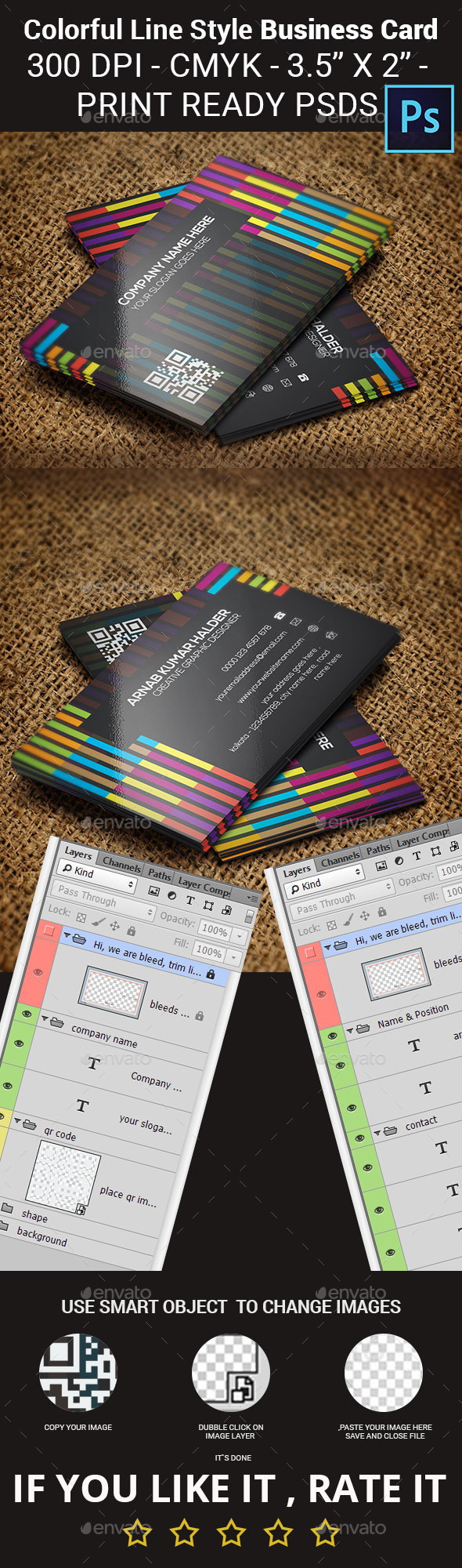 Colorful Line Style Business Card - Creative Business Cards