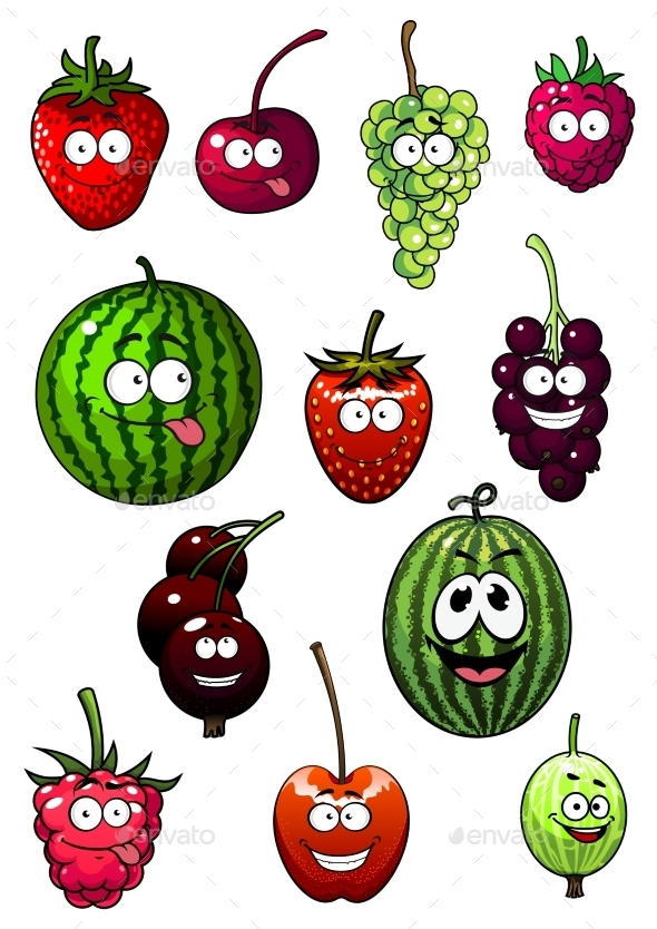 Fresh Cartoon Berries And Fruits - Food Objects