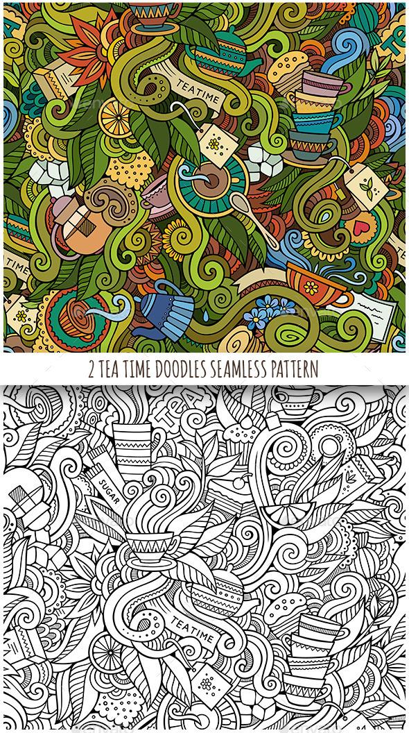 2 Tea Doodles Seamless Pattern - Food Objects