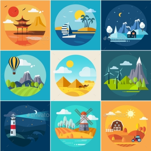 Set Of Different Landscapes In The Flat Style - Objects Vectors