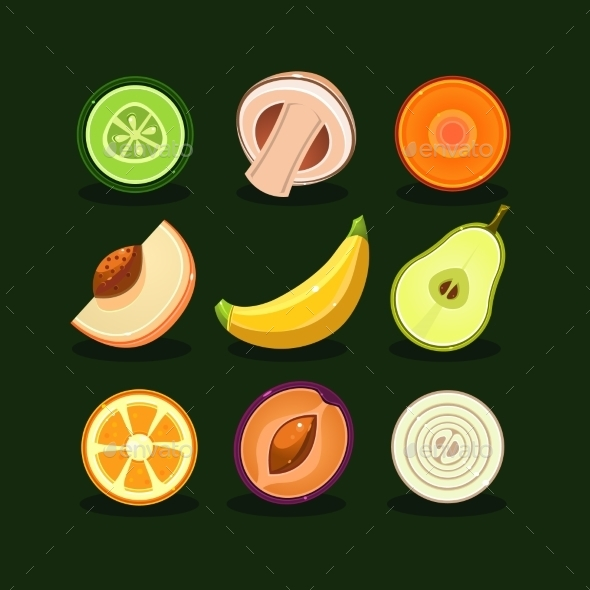 Fruit And Vegetable Vector - Food Objects
