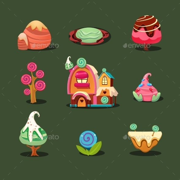 House From Cookies, Islands Sweets, Caramel Trees - Miscellaneous Vectors