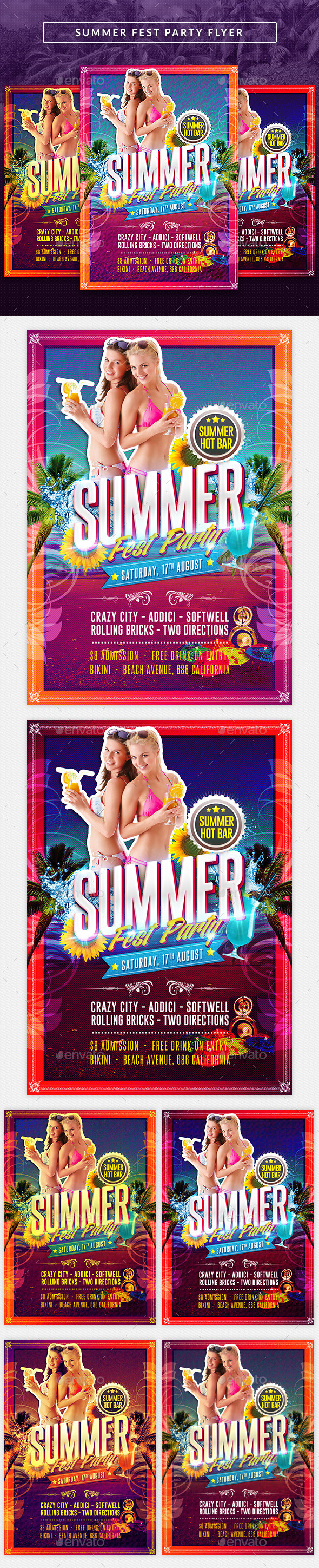 Summer Hot Fest Party Flyer - Clubs & Parties Events