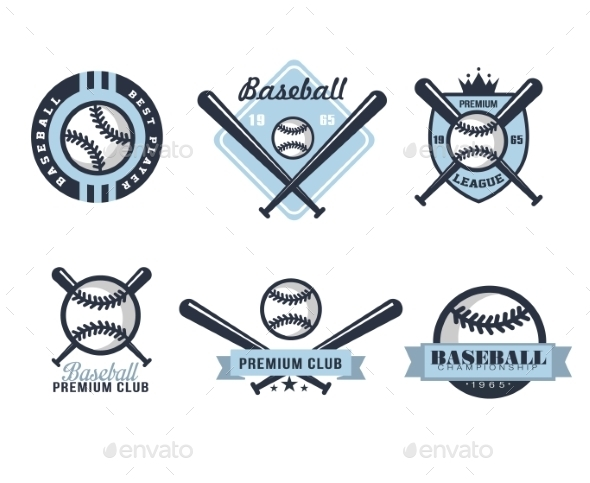 Baseball Emblems Or Badges With Various Designs  - Miscellaneous Vectors