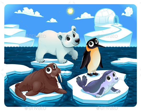 Polar Animals on the Ice - Animals Characters