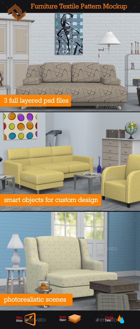 Furniture Textile Pattern Mockup - Product Mock-Ups Graphics