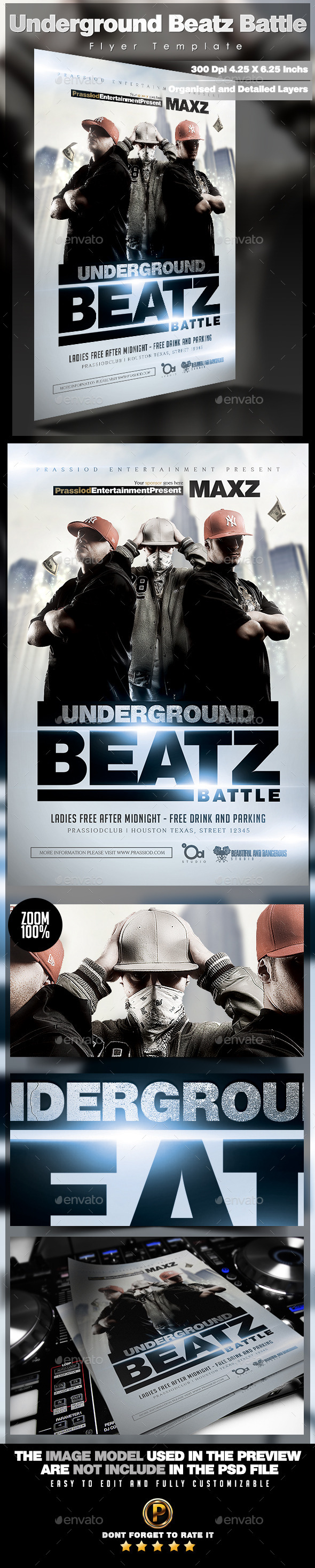Underground Beatz Battle Flyer Template - Clubs & Parties Events