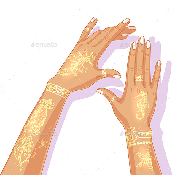 Summer Flash Tattoo Design. - People Characters