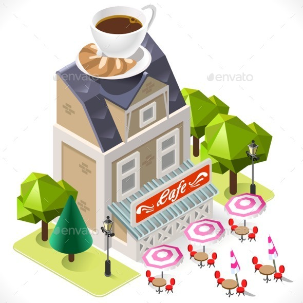 Cafe Building Tint Icon Isometric - Buildings Objects