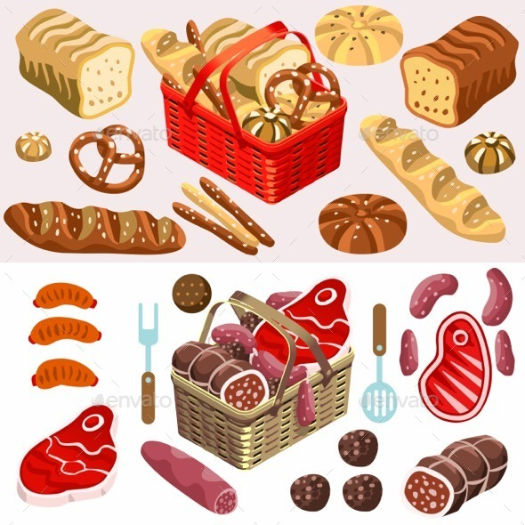 Food Set Meat and Bread Isometric - Organic Objects Objects