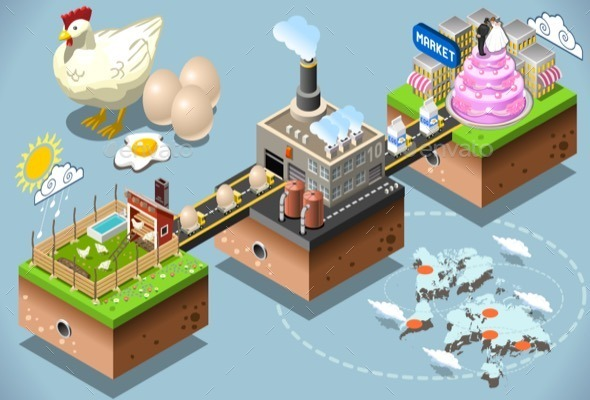Isometric Infographic Egg Products Distribution  - Conceptual Vectors