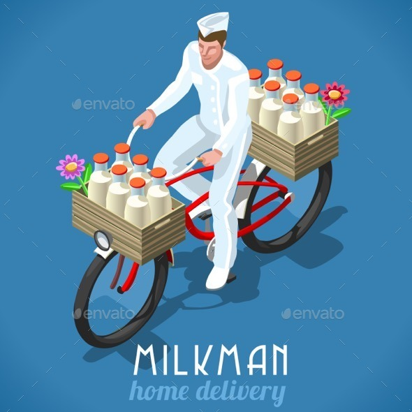Milkman Bicycle Vintage Isometric - People Characters
