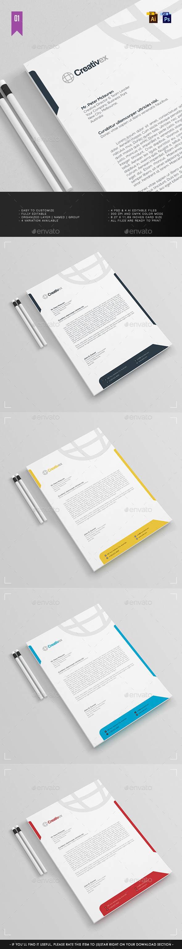 A4 - Business Letterhead V.001 - Stationery Print Templates