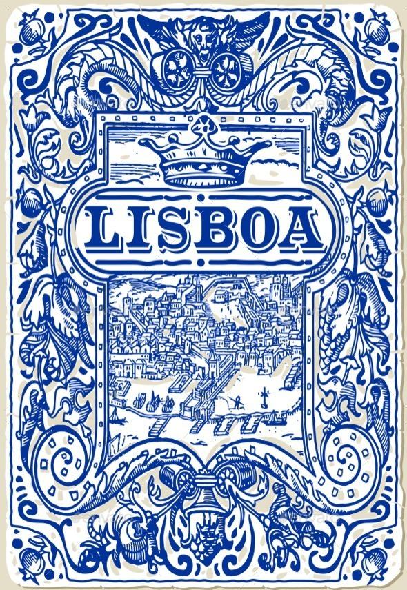 Traditional Tiles Azulejos Lisboa, Portugal - Decorative Symbols Decorative