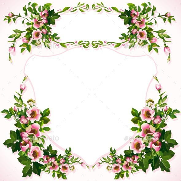 Wild Roses Bouquet Label - Flourishes / Swirls Decorative