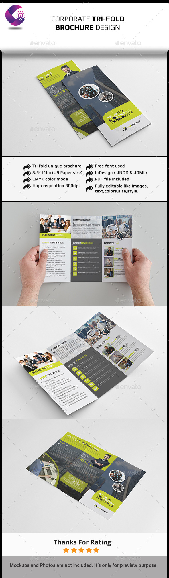 Tri Fold Brochure InDesign Template - Corporate Brochures