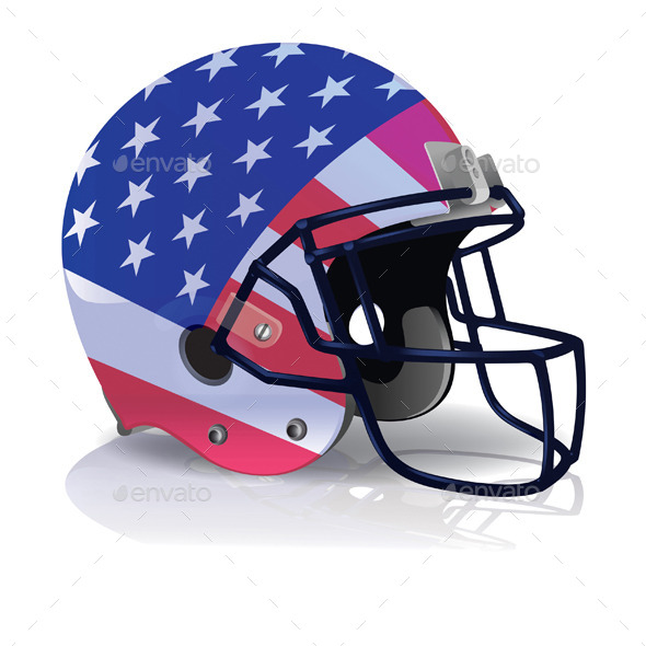 Vector American Football Helmet with American Flag - Sports/Activity Conceptual