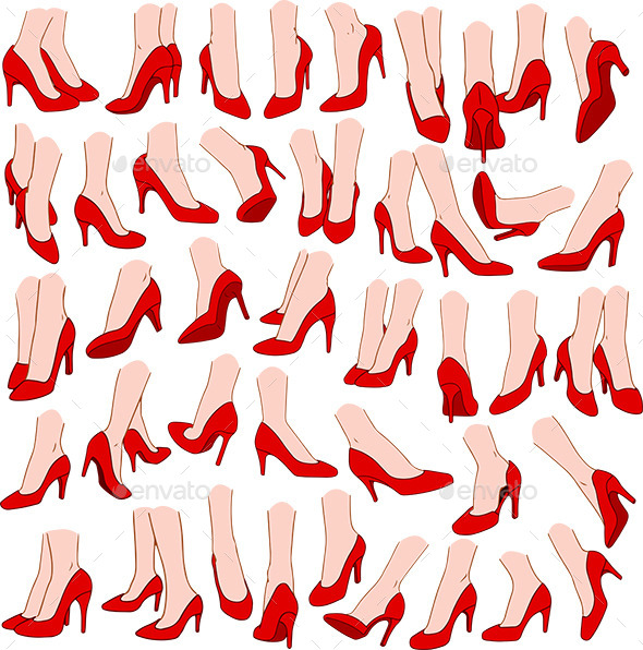 Woman Feet With Red High Heel Shoes Pack - People Characters
