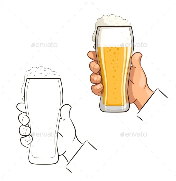 Glass of Beer in Hand - Food Objects