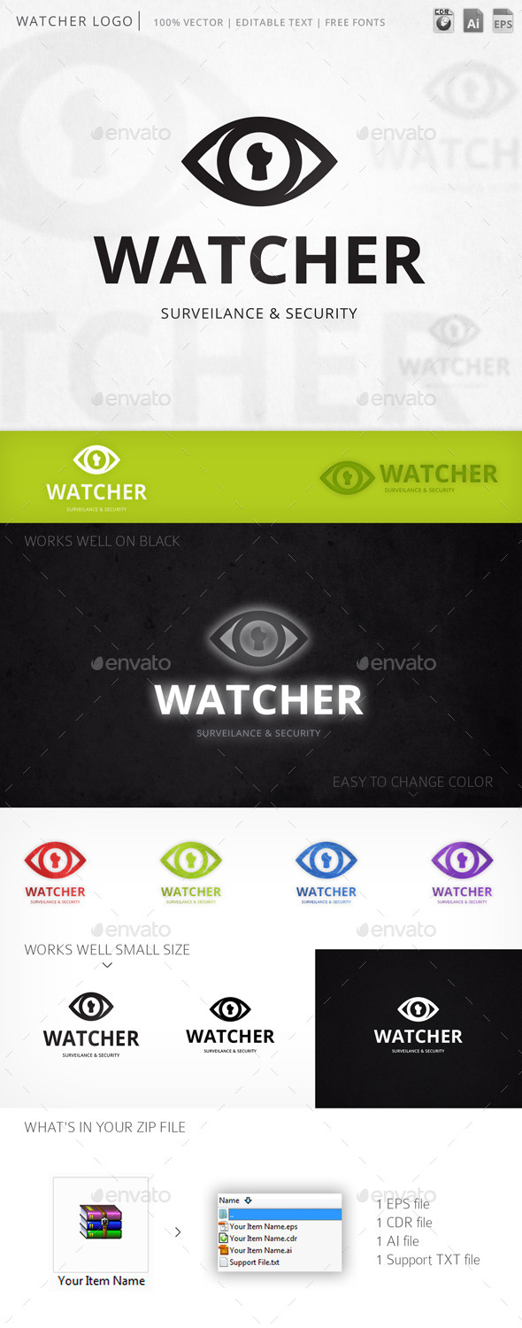Watcher Eye Vision Logo Template - Objects Logo Templates