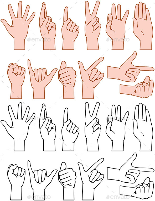 Universal Hand Signs Gestures - People Characters