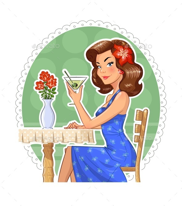 Girl with Glass of Martini - People Characters