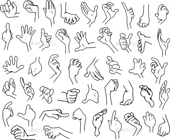 Cartoon Hands Pack Lineart 3 - People Characters