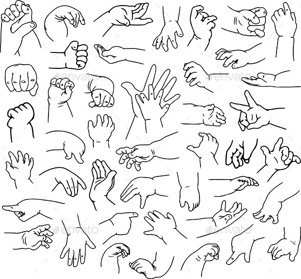 Baby Hands Pack Lineart - People Characters
