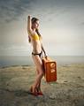 Traveller at the seaside