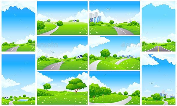 Fresh Green Landscape Backgrounds Set - Landscapes Nature