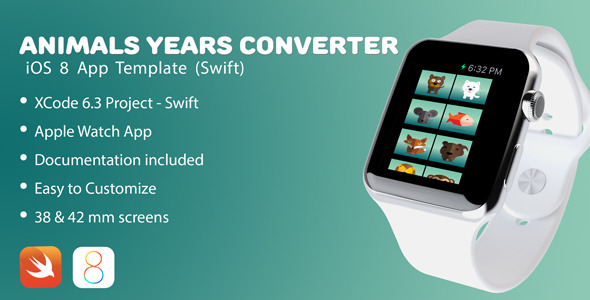 Animals years converter Apple Watch app - CodeCanyon Item for Sale