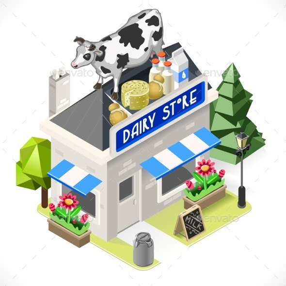 Dairy Products Shop City Building 3D Isometric - Buildings Objects