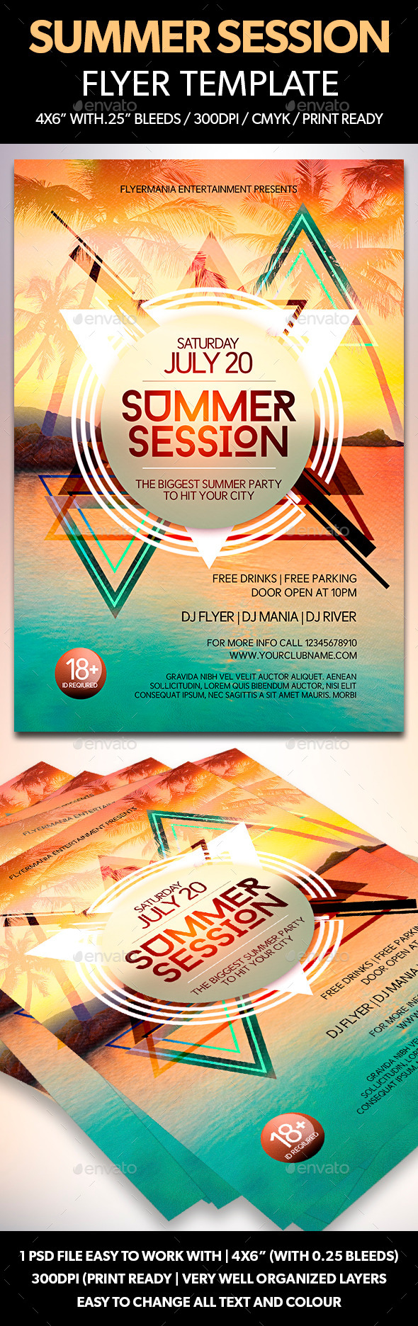 Summer Session Flyer Template - Clubs & Parties Events