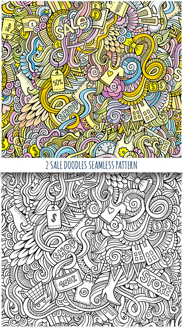2 Doodles Seamless Sale and Shopping Pattern - Commercial / Shopping Conceptual