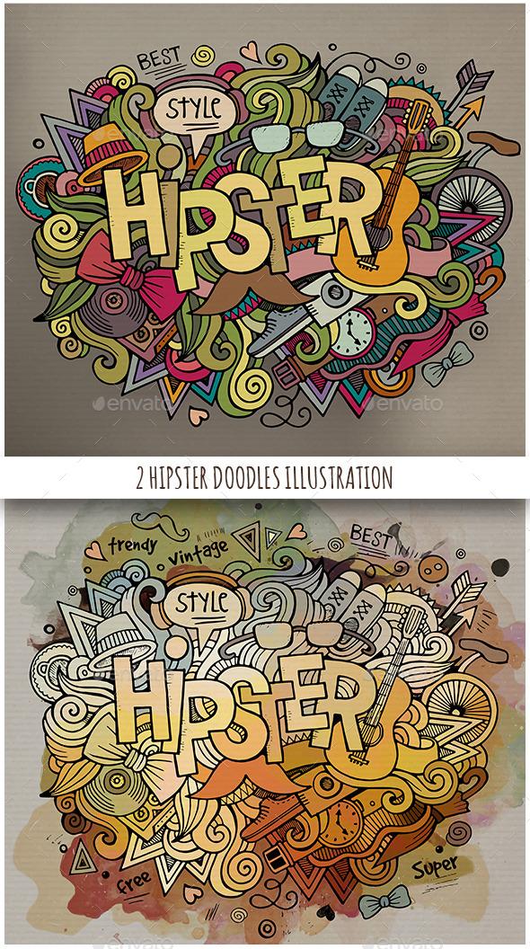 2 Hipster Doodles Designs - Conceptual Vectors