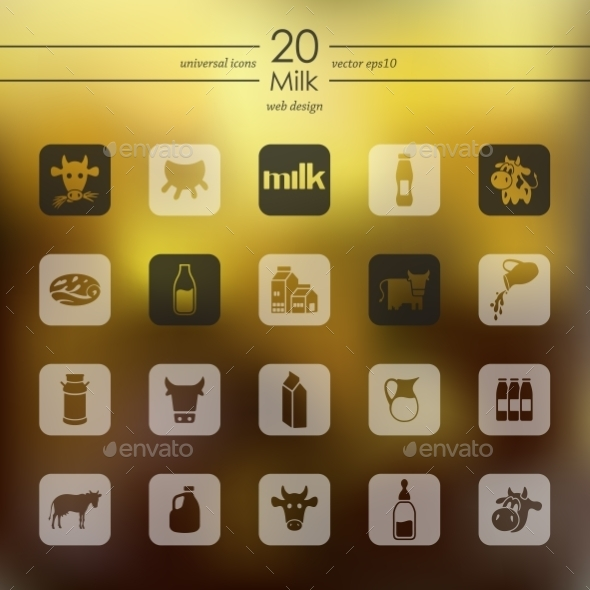 Set Of Milk Icons - Icons