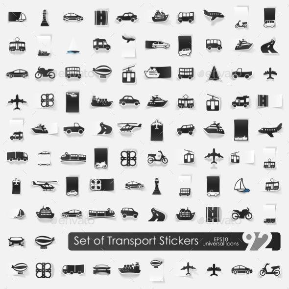 Set Of Transport Stickers - Icons