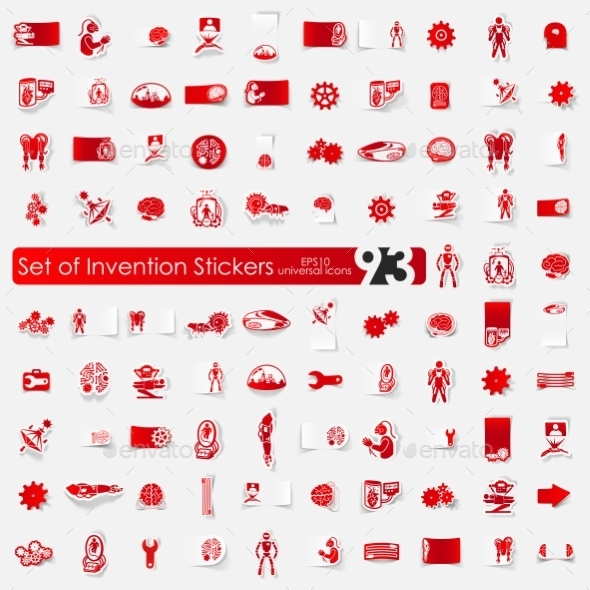 Set Of Invention Stickers - Icons