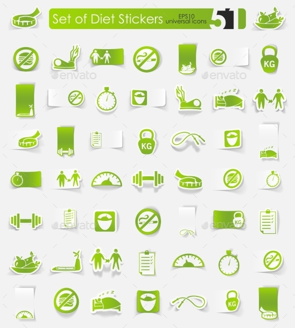 Set Of Diet Stickers - Icons