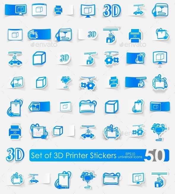 Set Of Three d Printer Stickers - Icons