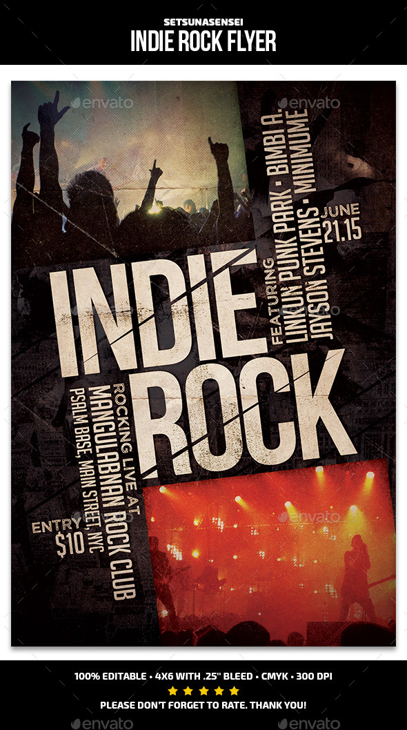 Indie Rock Flyer - Concerts Events
