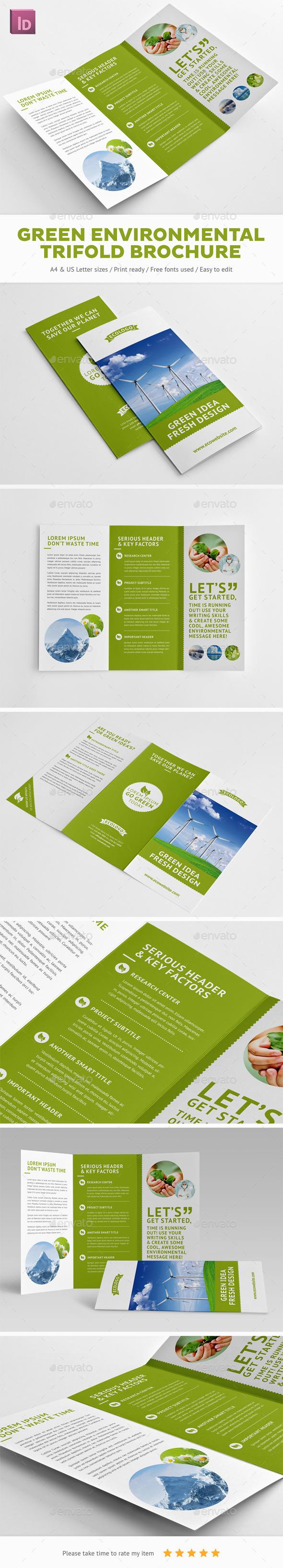 Green Environmental Trifold Brochure - Brochures Print Templates