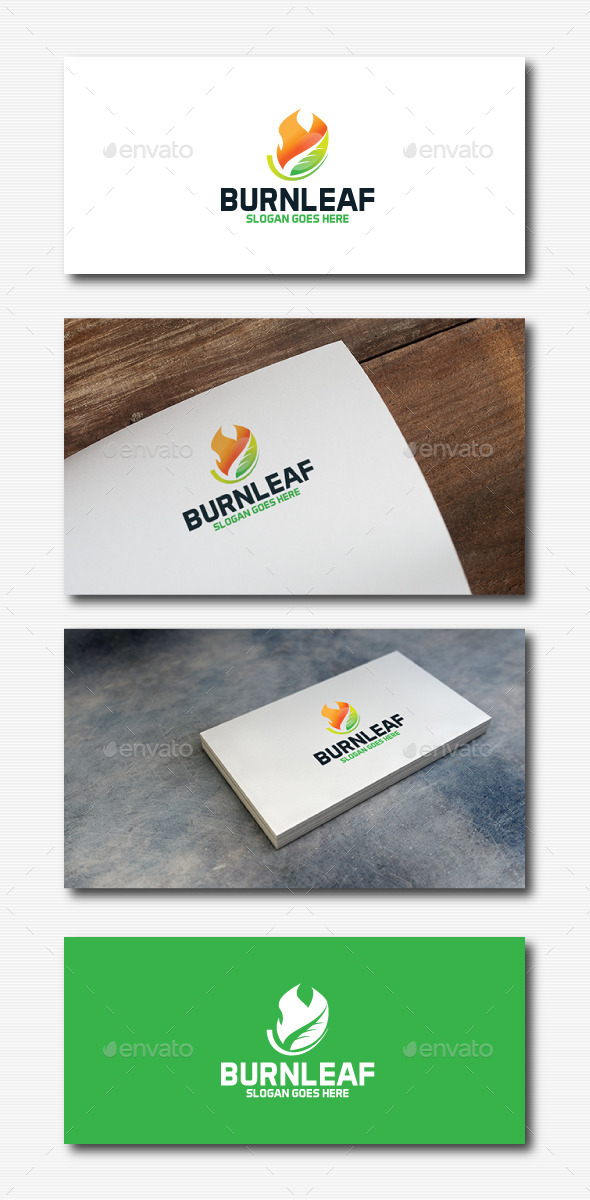 Burn Leaf Logo - Nature Logo Templates