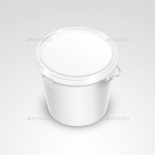 Vector Blank Plastic Bucket Container Packaging - Miscellaneous Vectors