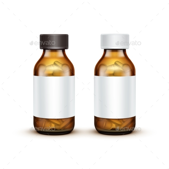 Glass Medical Bottle with Tablets Pills - Health/Medicine Conceptual