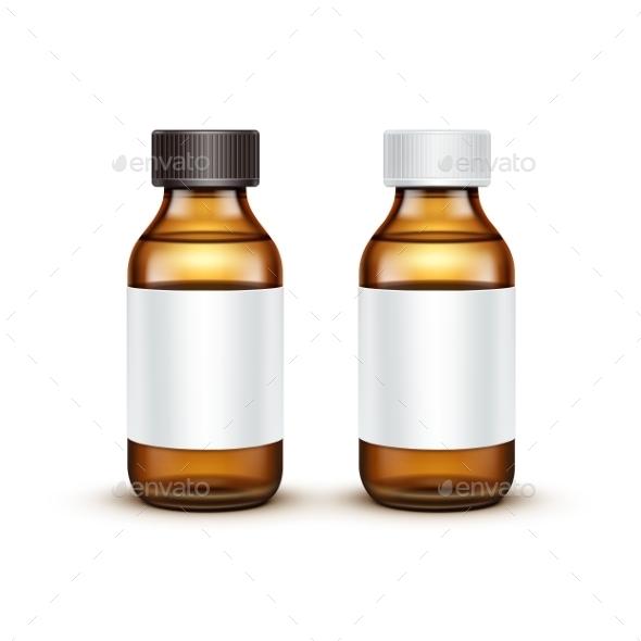 Vector Glass Medical Bottle With Liquid Fluid - Miscellaneous Vectors